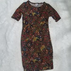 NWT Fall Colors LuLaRoe Julia Dress S 4-6